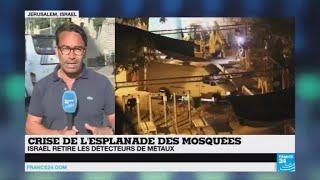 Abonnez-vous à notre chaîne sur YouTube : http://f24.my/youtubeEn DIRECT - Suivez FRANCE 24 ici : http://f24.my/YTliveFR Les autorités musulmanes à Jérusalem ont demandé aux fidèles de continuer à boycotter l'esplanade des Mosquées malgré la décision d'Israël de retirer des détecteurs de métaux controversés installés à l'entrée du troisième lieu saint de l'islam.Notre site : http://www.france24.com/fr/Rejoignez nous sur Facebook : https://www.facebook.com/FRANCE24.videosSuivez nous sur Twitter : https://twitter.com/F24videos
