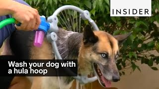 You can now wash your dog with a hula hoop