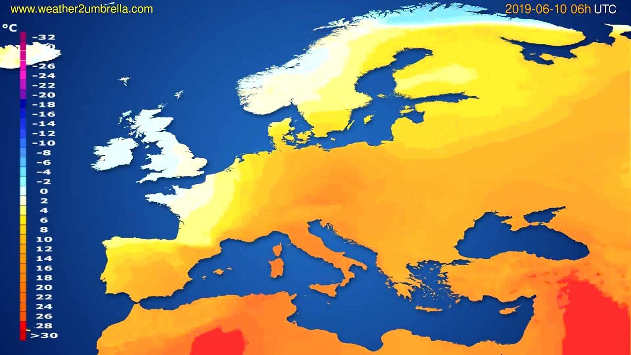 Temperature forecast Europe // modelrun: 12h UTC 2019-06-07