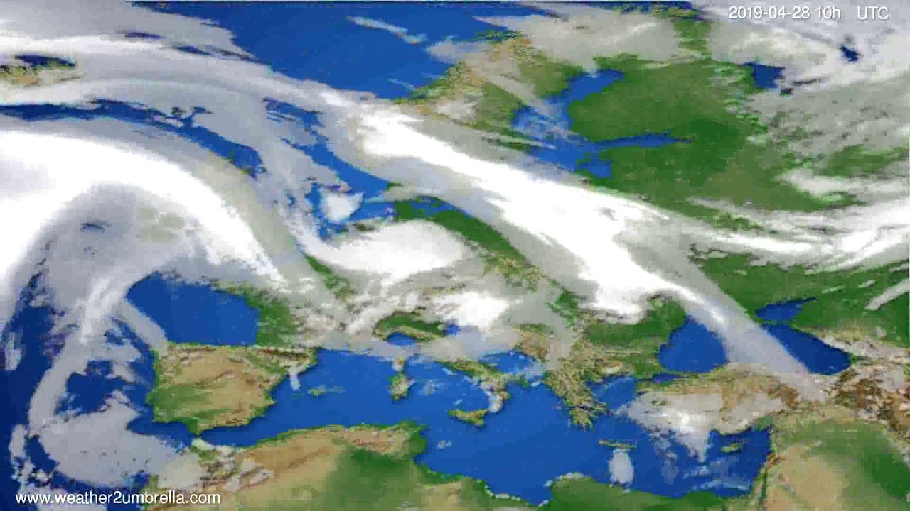 Cloud forecast Europe // modelrun: 12h UTC 2019-04-25