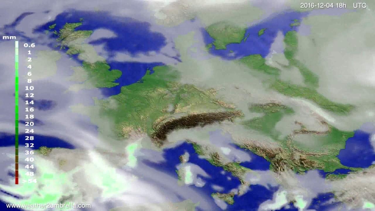 Precipitation forecast Europe 2016-12-01