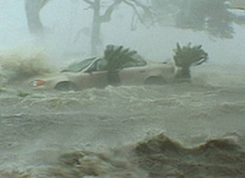 Hurricane Katrina during the storm. Incredible destruction.