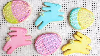 Testing AmeriColor Electric Color Kit - Pretty Easter Bunny & Easter Egg Cookies