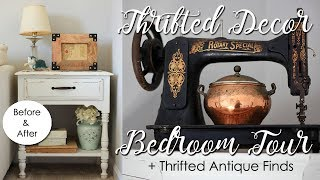 Thrifted Decor Home Tour-How I Decorate with Thrift Store Items-Bedroom+Antique Finds+DIY Ideas