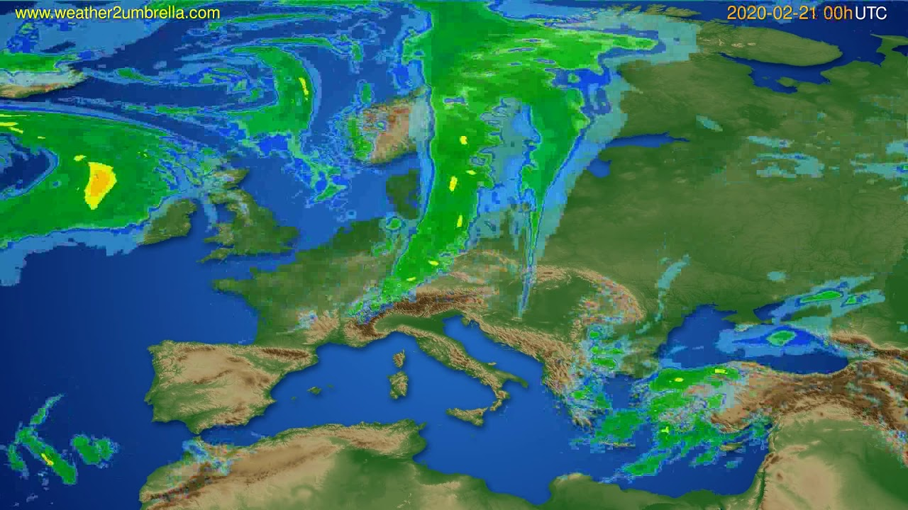 Radar forecast Europe // modelrun: 12h UTC 2020-02-20