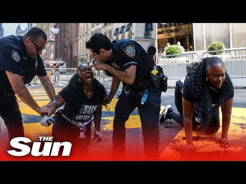 Black Lives Matter mural outside Trump Tower is vandalized again with one cop injured