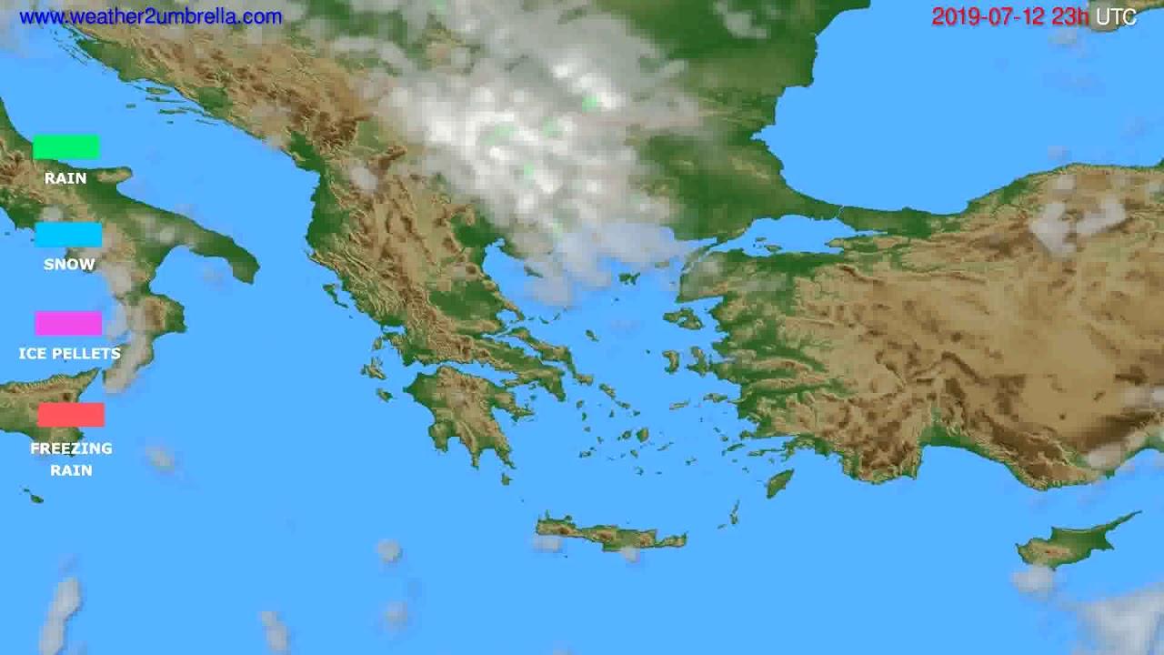 Precipitation forecast Greece // modelrun: 12h UTC 2019-07-09