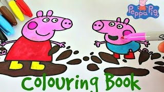 Hi KidsToday I want to learn colors by watching me color in Peppa Pig and George Pig jumping in the mud!This is a great coloring book sheet and I hope you all enjoy it!Colors used: Brown, Pink, Black, Blue, Red and Yellow.Toy Club