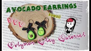 let´s knet // kawaii Avocado Earrings Tutorial // Polymer Clay // Metalbride