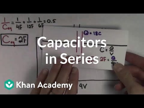 Capacitors - The effect on voltage and current when capacitors are constructed in series in a circuit. By David Santo Pietro. More free lessons at: http://www.khanacademy...