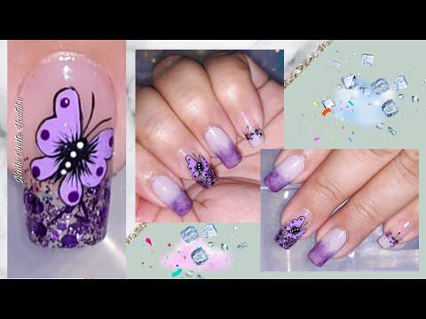 Uñas decoradas - Decoración de uñas en tonos morados/decoración de uñas mariposa/Diseño uñas con difuminado y glitter