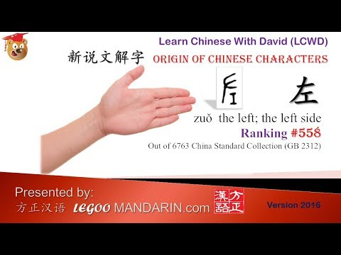 Origin of Chinese Characters - 0558 左 Left side - Learn Chinese with Flash Cards - trimmed