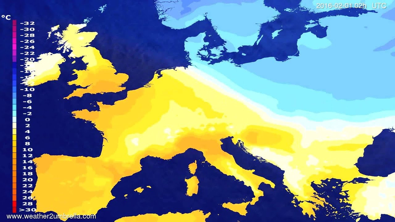 Temperature forecast Europe 2016-01-28