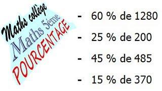 Maths 5ème - Le pourcentage Exercice 7