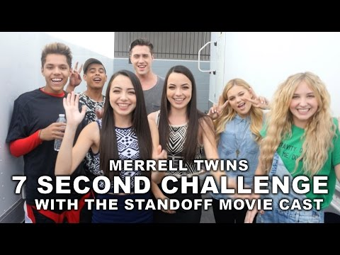 7 Second Challenge With The Standoff Movie Cast - Merrell Twins