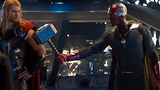 Avengers: Age of Ultron - Vision lifts Thor's Hammer (Scene) M...