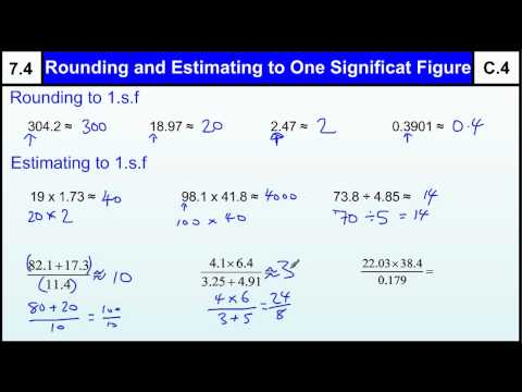 7.4 Rounding & Estimating One Significant Figure Basic Maths Core Skills GCSE Grade C Level 7 help