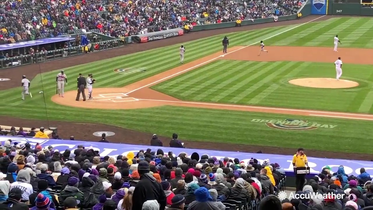 Snowy home opener for the Colorado Rockies