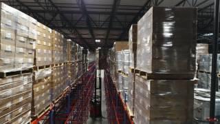 Drone Explores Massive Pallet Rack Warehouse