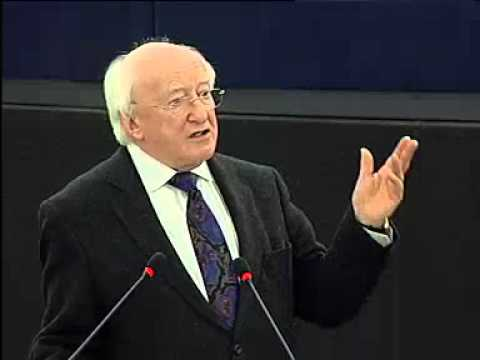 European Parliament - President of Ireland, Michael D Higgins, addresses the European Parliament plenary session in Strasbourg as part of Ireland's EU presidency. April 17, 2013.