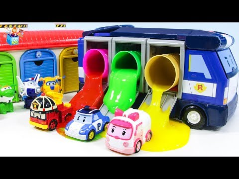 Learning Color Cars Lightning McQueen superwings police car carrier slime Play for kids car toys
