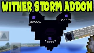 OMG! WITHER STORM on Minecraft Pocket Edition! MCPE WITHER STORM ADDON and BEHAVIOR PACK GAMEPLAY