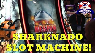 """American Casino Guide author, Steve Bourie, takes a look at the new """"Sharknado"""" video slot machine from Aristocrat Technologies which was introduced at the 2016 Global Gaming Expo in Las Vegas. The game is based on the hit series of made-for-TV movies shown on the Syfy channel and is expected to be available in casinos by early 2017. Play FREE social casino slots -  http://www.americancasinoguide.com/play-free-slots These slots are only for fun and no money is involved. All new players get FREE BONUS CHIPS! SUBSCRIBE for more videos: http://bit.ly/1G4l0xv Tips on Blackjack: http://y2u.be/5ki_92QrqfITips on Slot Machines: http://y2u.be/7Wkubf1PrWgTips on Craps: http://y2u.be/7daSiVupvmYTips on Video Poker: http://y2u.be/gLYQ3ZIowPAFor the latest news and insights on casinos visit: http://blog.888casino.com/"""