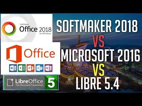 Softmaker Office 2018 vs LibreOffice 5.4 vs Microsoft Office 2016