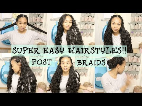 Curly hairstyles - 6 Simple Hairstyles After Removing French Braids  Curly Hair Tutorial  Vlogmas Day #2