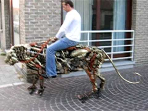 tiger - An awesome, custom-built mechanical tiger created by a local artist and taken out for its first ride, in Brugge, Belgium. Check out the artist's site at www....