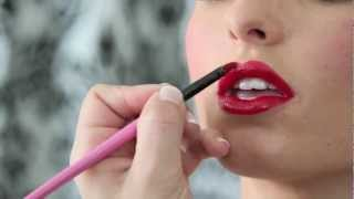 Pin up Make up with Cat Eyes and a Red Lip on Christy Mack for TeachingBeauty.com - YouTube