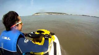 5. From Brean Beach to Weston Super Mare on a Yamaha XLT800 jet