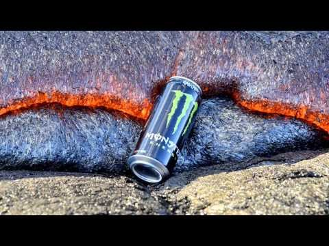 A can of monster being devoured by lava