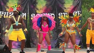 "DJ Morrishaw Productions mass troupe ""Feel Da Vibes"" performed at the Grace Jamaica Jerk Festival in Roy Wilkin Park in ..."