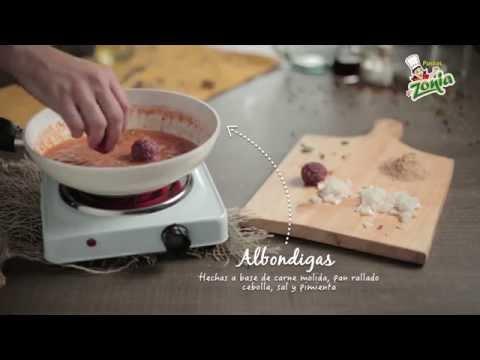 Video - Receta espagueti con albóndigas - Pastas Zonia