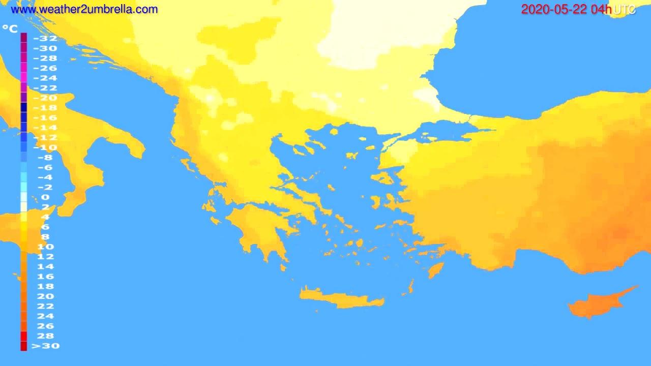 Temperature forecast Greece // modelrun: 12h UTC 2020-05-21