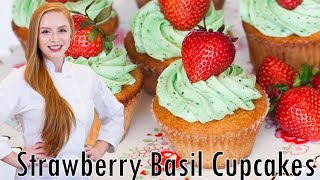Strawberry Basil Cupcakes by Tatyana's Everyday Food