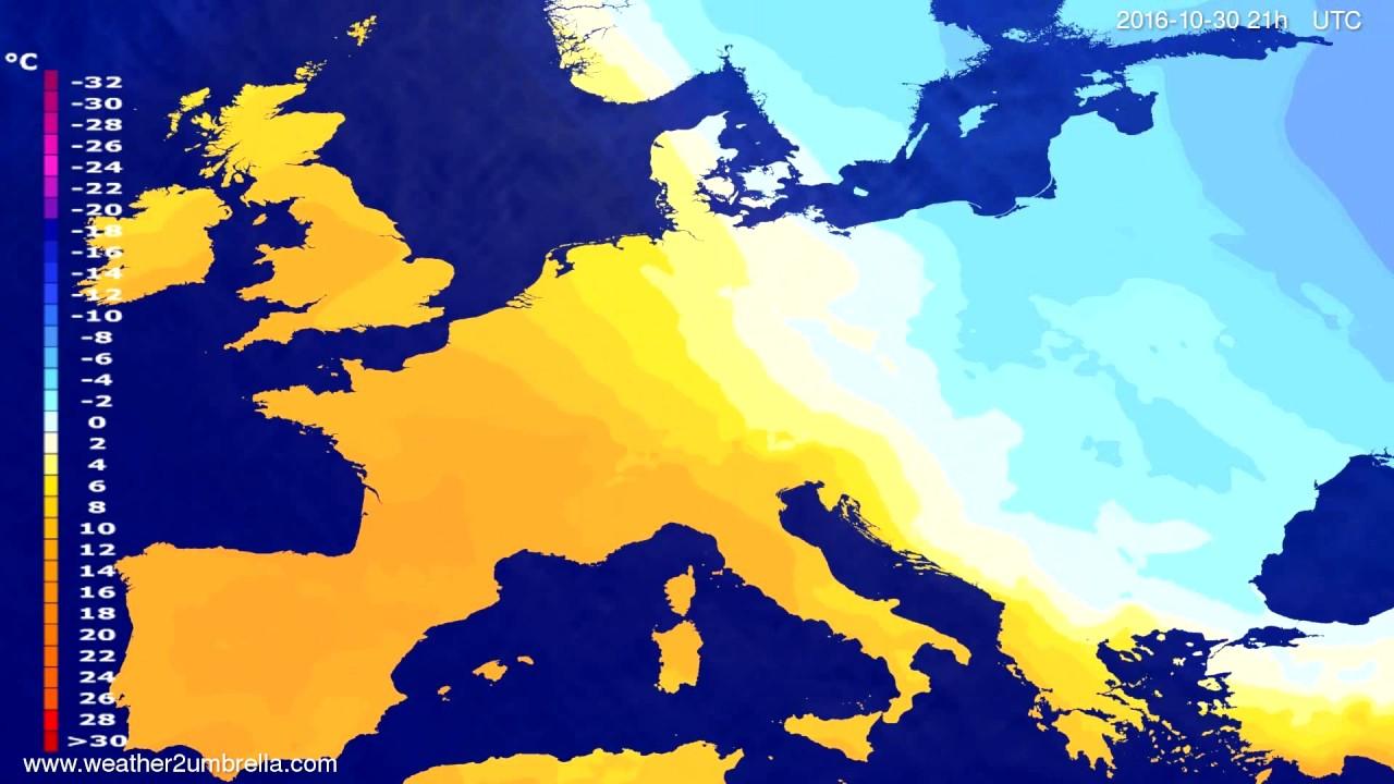 Temperature forecast Europe 2016-10-27
