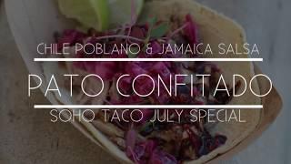 Our July special El Taco De Pato Confitado features a sweet & tangy salsa de Chile Poblano & Jamaica that wonderfully balances...