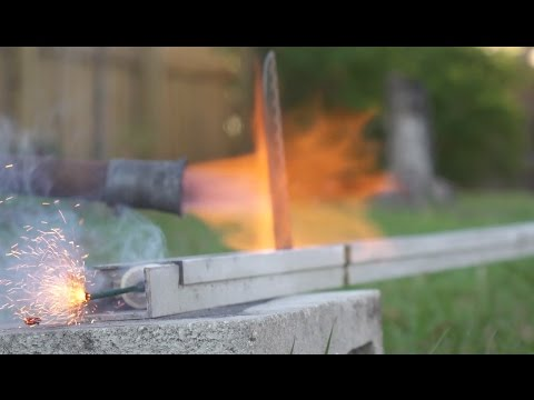 A 1000 degree Red Hot Rocket Knifey Slices Through Lighters Wood and Silly