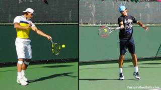 Tennis Highlights, Video - Roger Federer and Rafael Nadal's Forehands Compared