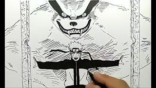 cara menggambar naruto dan kurama lansung pakai spidol, cepat dan mudah / how to draw naruto easy