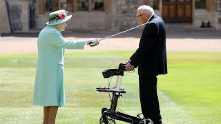 video: Captain Tom Moore knighted by the Queen and jokes: 'If I kneel down I'll never get up again'