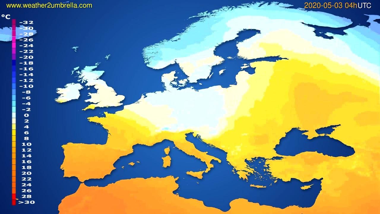 Temperature forecast Europe // modelrun: 12h UTC 2020-05-02