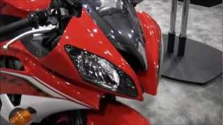 9. 2013 Yamaha YZF R6 Red Walk Around Motorcycle SportBike Canon Vixia HF M40 Video Test
