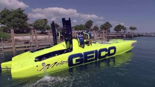 Jim Cantore hits the water with the crew of the Miss Geico for a blood pumping adventure in high-speed boat racing.