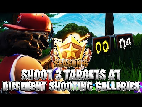 Shoot 3 Targets At Different Shooting Galleries LOCATIONS! Week 4 Challenges (Fortnite Season 6)