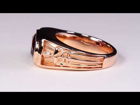 Men's Art Nouveau Rhodolite Garnet Ring in Rose Gold
