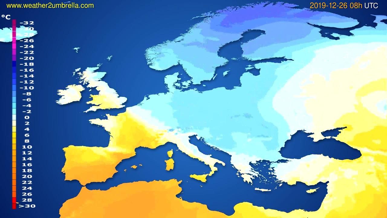Temperature forecast Europe // modelrun: 12h UTC 2019-12-25
