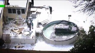 Американец въехал на внедорожнике в замерзший бассейн